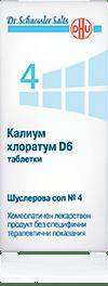 Шуслерова сол (Schuessler salt) 4 Калиум хлоратум D6 таблетки x80